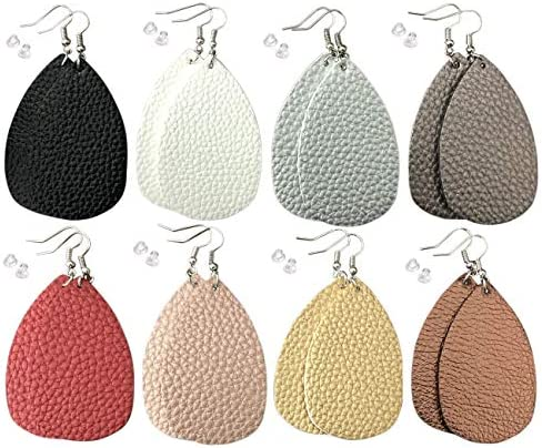 Leather Earrings Lightweight Teardrop Handmade product image
