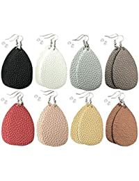 Leather Earrings Lightweight Faux Leather Leaf Dangle Earrings Teardrop Earrings Antique Handmade Earrings for Women Gift, 8 Pairs