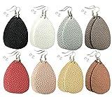 Leather Earrings Lightweight Faux Leather Leaf Dangle Earrings Teardrop Earrings Antique Handmade Earrings for Women Gift, 8 Pairs: more info