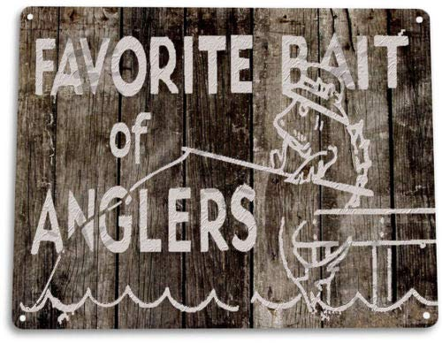 (TIN Sign Anglers Bait Fishing Fish Marina Cabin Lake House Rustic Sign)
