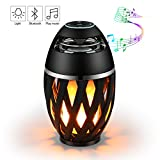 Led Flame Speaker,ELEGIANT Bedside LED Lamp Wireless Speaker, Outdoor Torch Atmosphere Portable Stereo Speaker with HD Audio and Enhanced Bass Sound for Ipad Iphone Android Phones Black