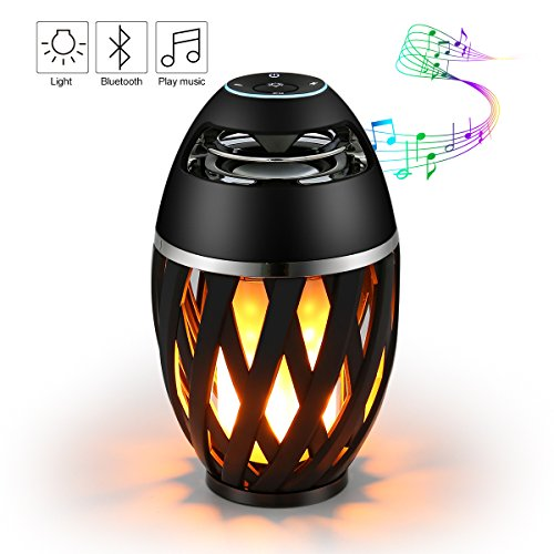 Flame Gift (Led Flame Speaker,ELEGIANT Bedside LED Lamp Wireless Speaker, Outdoor Torch Atmosphere Portable Stereo Speaker with HD Audio and Enhanced Bass Sound for Ipad Iphone Android Phones Black)