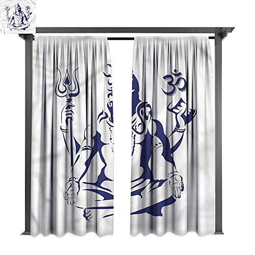 cobeDecor Thermal Insulated Drapes Yoga Sacred Ritual Lotus Pose for Lawn & Garden, Water & Wind Proof W120 -