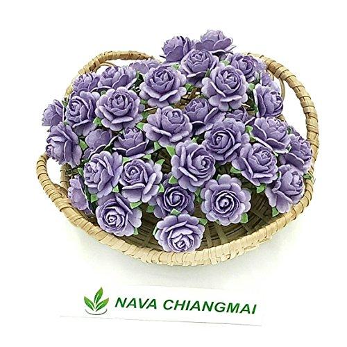 NAVA CHIANGMAI Beautiful Artificial Mulberry Paper Rose Flower (Heart Petals Rose) Wedding Card Embellishment, Scrapbooking Wedding Doll House Supplies Card,DIY Flower Accessories. ()