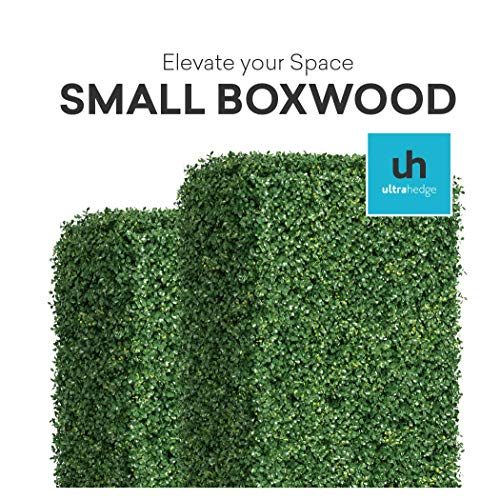 (UltraHedge Small Boxwood 20 x 20 Inches Two-Toned Artificial Hedge Panels   Topiary Decorative Wall Greenery Fence Covering  Indoor Outdoor   Small Leaf Size 0.5