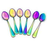 Renohef Cucharas de café Rainbow,Cuchara Plateada Colorida del