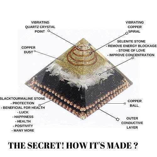 Orgone Pyramid Emf Protection Selenite Black tourmaline Crystal Orgonite Pyramid