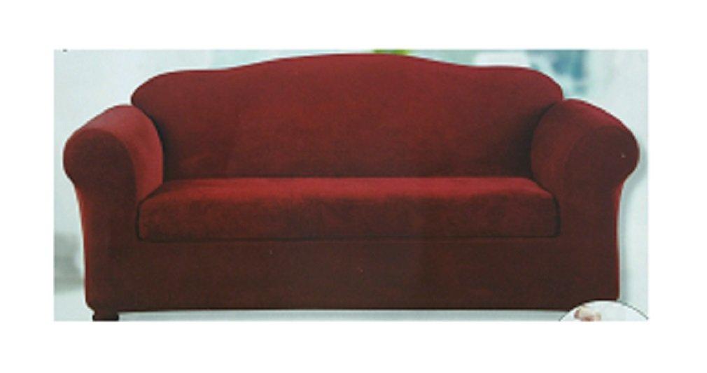 Amazon Com Sure Fit 2 Piece Stretch Slipcover Sofa Garnet Home