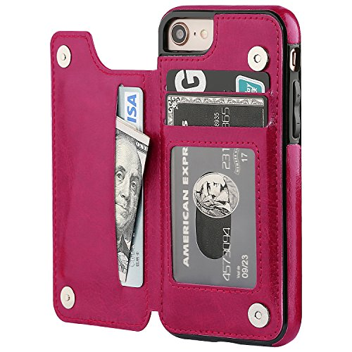 iPhone 8 Wallet Case with Card Holder,OT ONETOP iPhone 7 Case Wallet Premium PU Leather Kickstand Card Slots,Double Magnetic Clasp and Durable Shockproof Cover 4.7 Inch (iPhone 7/iPhone 8 Pink)