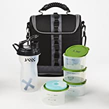 Fit & Fresh Appalachian Lunch Bag Kit with Set of 1-Cup Containers and Jaxx Shaker (Black)