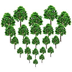 23Pcs Model Trees Scenery Model Plastic Artificial Layout Rainforest Diorama, Building Model Trees, Fake Trees for Projects Model Train Railways Architecture Landscape