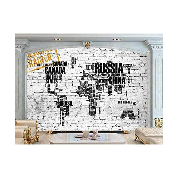 LIWALLPAPER-Carta-Da-Parati-3D-Fotomurali-Mappa-Del-Mondo-Vintage-Bianco-Muro-Di-Mattoni-Nomi-Dei-Paesi-Camera-da-Letto-Decorazione-da-Muro-XXL-Poster-Design-Carta-per-pareti-200cmx140cm