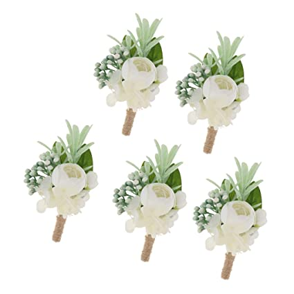 Rose Flower Corsage Groom Best Men Boutonniere Prom Wedding Party Decor New