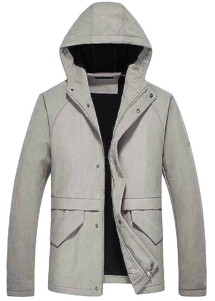 Cromoncent Mens Solid Fleece Padded Zipper Pocket Coat Hooded Sweatshirts