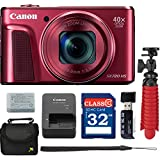 Canon PowerShot SX720 HS Digital Camera (Red) with Free Accessory Bundle including 32 GB SD Memory Card + USB Card Reader + Spider Tripod + Camera Case - International Version