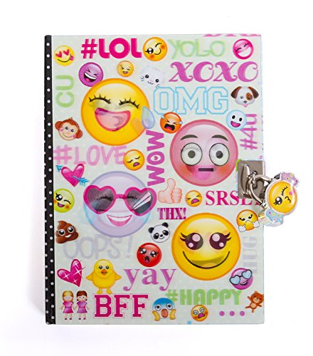 "Hot Focus Emoji Secret Diary with Lock – 7"" Journal Notebook with 300 Double Sided Lined Pages, Padlock and Two Keys for Kids (Boys And Lock Diary Key)"