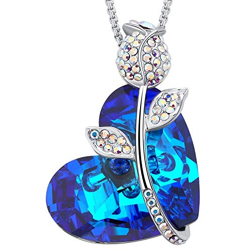 (MEGA CREATIVE JEWELRY Blue Heart Rose Sapphire Pendant Necklace with Crystals from Swarovski)