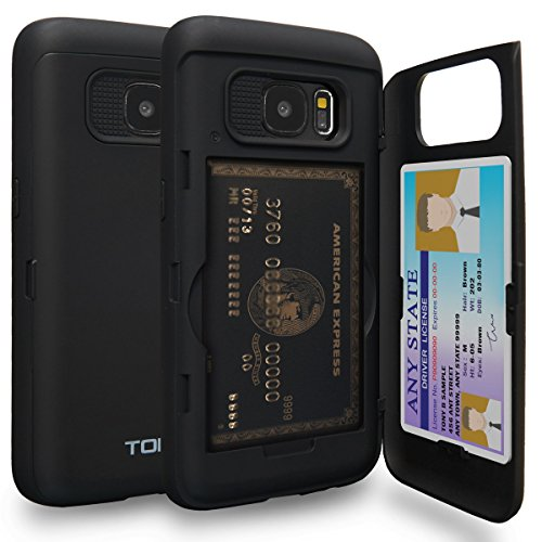 TORU CX PRO Galaxy S7 Wallet Case with Hidden ID Slot Credit Card Holder Hard Cover & Mirror for Samsung Galaxy S7 - Matte Black