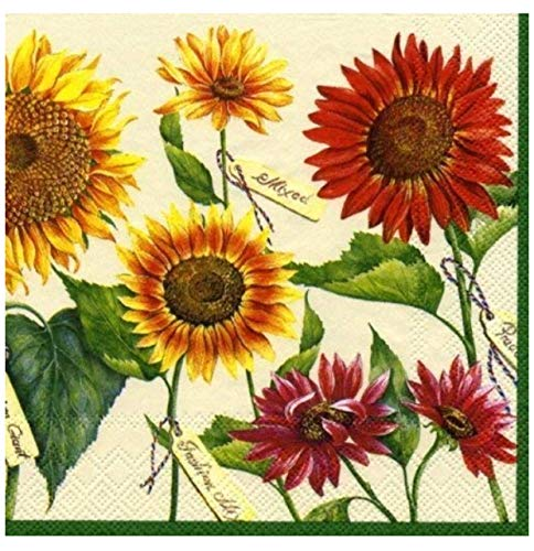 MesaFina Le Soleil Sunflowers Cocktail Beverage Napkins, Cream, 40 ct ()
