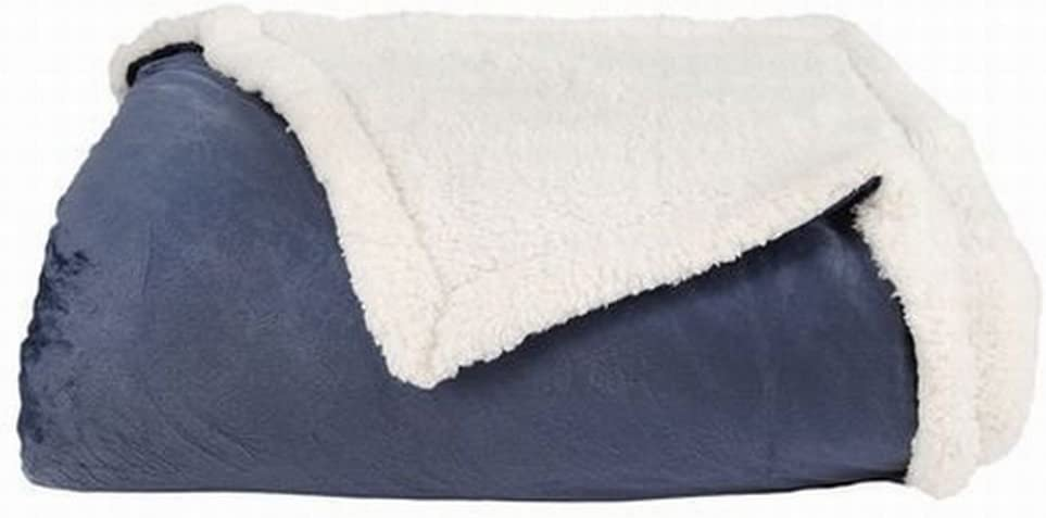NorthCrest Home Blue Micromink Sherpa Twin Blanket Reversible Soft Bedding