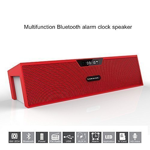 Portable Wireless Bluetooth Stereo Speaker with 2 X 5W Speaker Enhanced Bass Resonator, FM Radio, Built-in Mic, LED Display, Alarm clock, 3.5 mm Audio Jack, support TF card/Micro SD card and USB input, up to 35ft Bluetooth Range, up to 8 Hours Playtime,