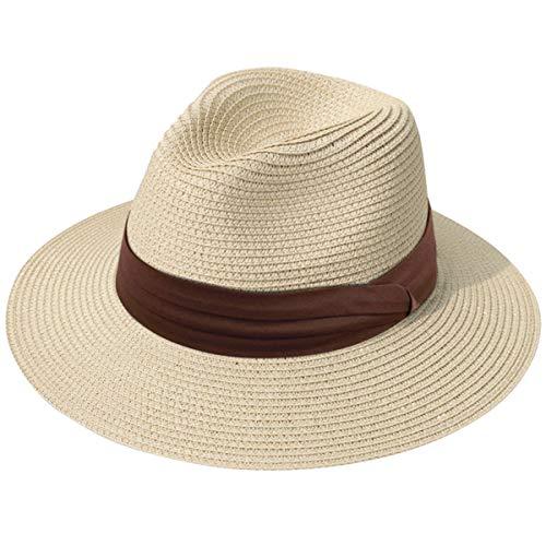 Lanzom Women Wide Brim Straw Panama Roll up Hat Fedora Beach Sun Hat UPF50+ (Z-Dark Coffee Ribbon Khaki)