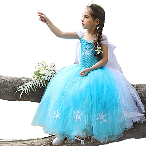 CQDY Elsa Princess Dress, Sleeveless Frozen Snow Girl Party Dress Tutu Dress