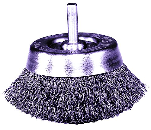 """Weiler 804-14301 Stem Mounted Crimped Wire Cup Brush, Steel, 1-3/4"""", 0.0118"""", 13000 rpm"""