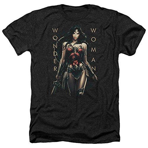 Wonder Woman Movie Armed and Dangerous Heather T-Shirt, Black, XL ()