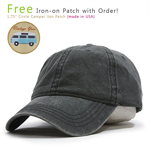 Vintage Year VintageYear Plain Washed Dyed Cotton Twill Low Profile Adjustable Baseball Cap (Charcoal Gray) (Twill Beanie Cotton)