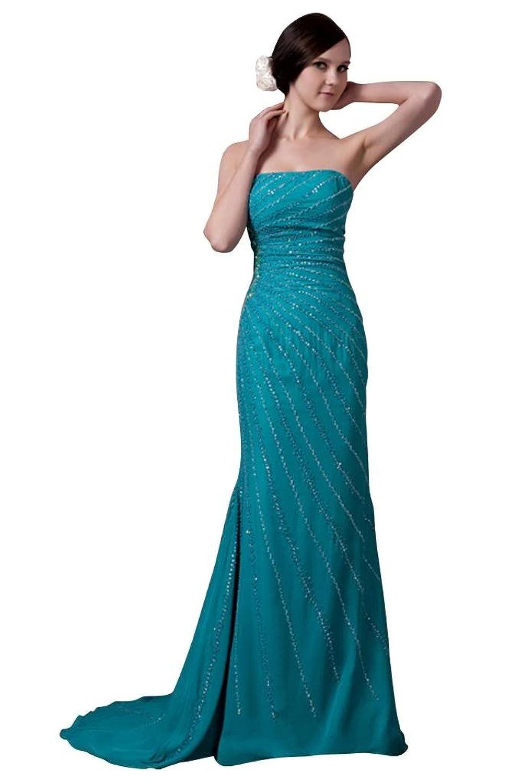 GEORGE BRIDE Elegant Strapless Beading Long Gorgeous Blue Evening Dress