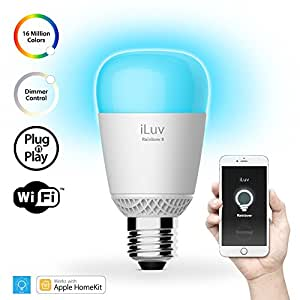 iLuv RBW8WHKUL, Apple HomeKit Certified WiFi Multicolor Smart LED Light Bulb with Grouping, Scheduling, Location Trigger and Scene through Free App for iPhones and iPads (No Bridge required)