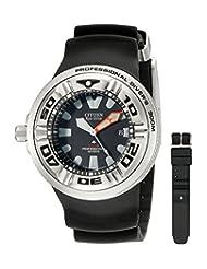Citizen Men's BJ8050-08E 300M Pro Diver Eco-Drive Strap Black Dial Watch