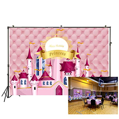 6.5x5ft Photography Backdrop Royal Pink Dream Castle Princess Girl Birthday Party Backdrop Photo Background Baby Shower Photo Studio Booth Background W-897 -