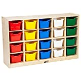 ECR4Kids Birch 20 Cubbie Tray Cabinet with Scoop Front Bins, Assorted Colors