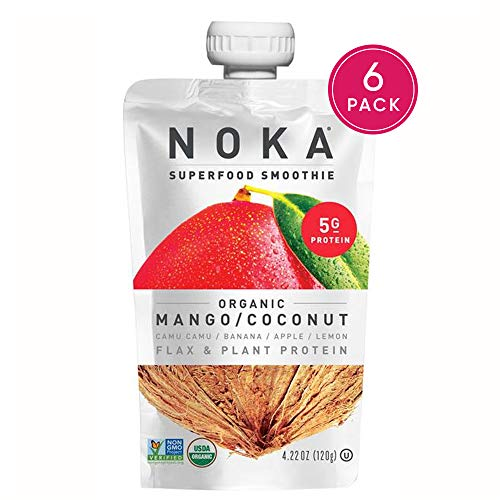 Fruit Smoothie Soy - NOKA Superfood Pouches (Mango Coconut) | 100% Organic Fruit And Veggie Smoothie Squeeze Packs | No Added Sugar, Non GMO, Gluten Free, Vegan, 4g Plant Protein | 4.2oz Each - Pack of 6