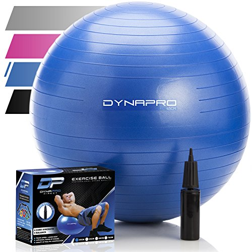 Exercise Ball - 2,000 lbs Stability Ball - Professional Grade – Anti Burst Exercise Equipment for Home, Balance, Gym, Core Strength, Yoga, Fitness, Desk Chairs (Blue, 45 Centimeters)