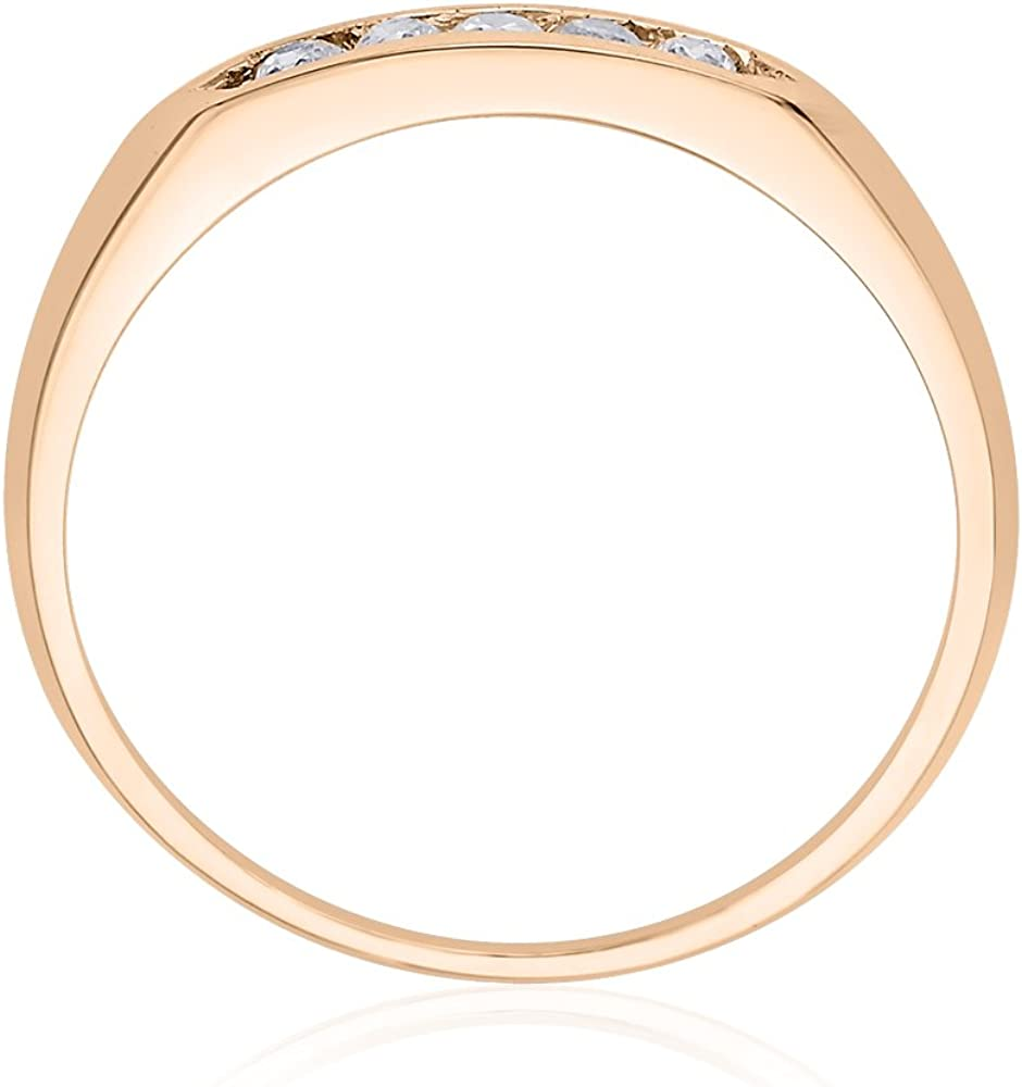 1//8 cttw, G-H,I2-I3 Diamond Wedding Band in 10K Pink Gold Size-5.5