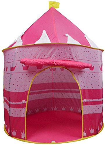 Portable Pink Folding Play Tent Kids Girl Princess Castle Fa