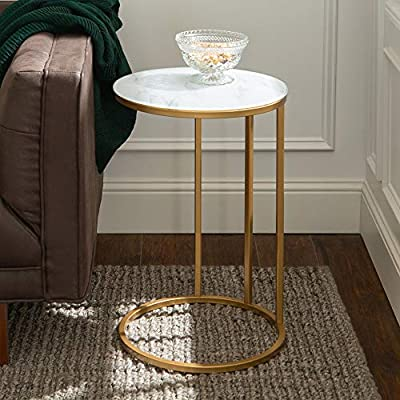 "Walker Edison Furniture Company Modern Round Side End Accent Table Living Room, C, Marble/Gold - Dimensions: 24"" H x 16"" L x 16"" W Pair with matching coffee table for a complete living room set With a mixed material design of metal and durable laminate - living-room-furniture, living-room, end-tables - 51vsKdNLH%2BL. SS400  -"
