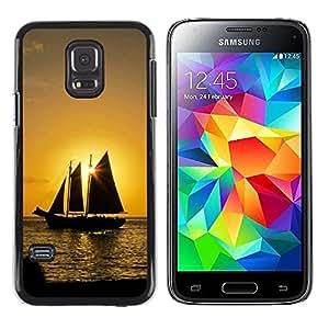 Smartphone Rígido Protección única Imagen Carcasa Funda Tapa Skin Case Para Samsung Galaxy S5 Mini, SM-G800, NOT S5 REGULAR! Sunset Ship Beautiful Nature 8 / STRONG