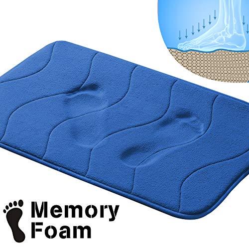 Flamingo P Waved Pattern Fieldcrest Luxury Bath Rugs, 17 Inch by 24 Inch, Royal Blue