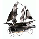 Clever Creations Premium Metal Sailboat Wine Bottle Holder