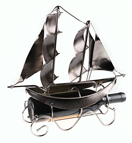 Premium Sailboat Metal Wine Bottle Holder by Clever Creations | Decorative Stainless Steel Design Fits Any Standard Wine Bottle | Wine Accessory Perfect for Kitchen Decorations (Sailboat Rack)