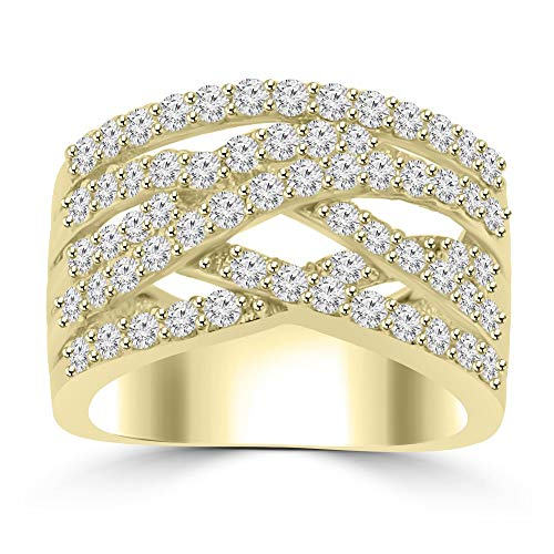 (1.53 ct Ladies Round Cut Diamond Designer Anniversary Band G Color SI-1 Clarity in 14 kt Yellow Gold In Size 15 )