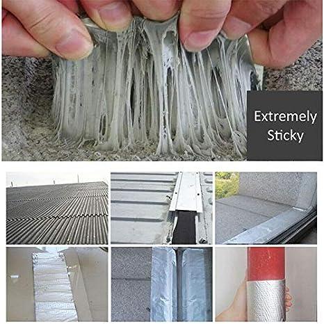 2 piezas Cinta s/úper impermeable Cinta de papel de aluminio de caucho but/ílico Cinta de reparaci/ón m/ágica potente para reparar grietas canaletas y agujeros en el techo 10CM*5M