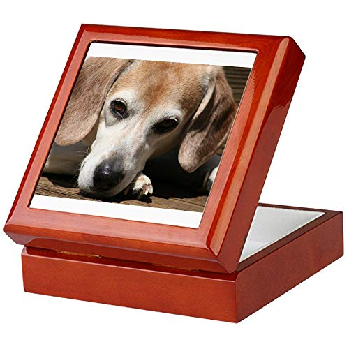 Beagle Tile Box - CafePress Hurry Home, I Miss You Keepsake Box, Finished Hardwood Jewelry Box, Velvet Lined Memento Box