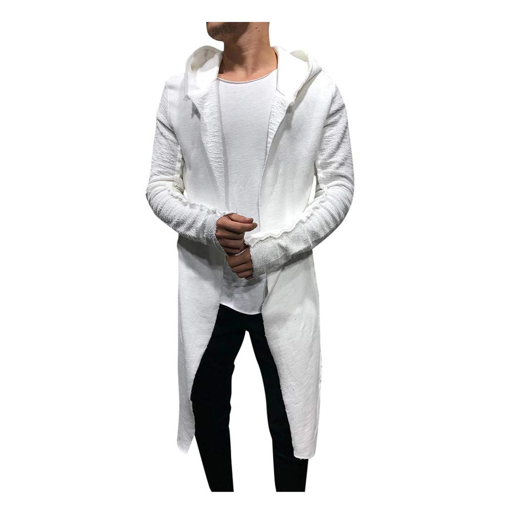Men's Hooded Lightweight Windbreaker Jacket Casual Slim Fit Trench Coat Cardigan Long Sleeve Outwear White by Briskorry