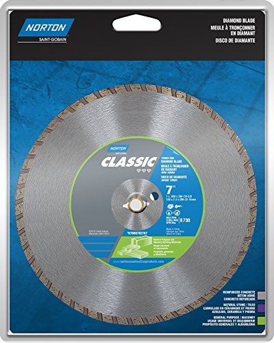 Norton 2787 Diamond Saw Blade 7-Inch Dry Cutting Turbo General Purpose Saw Blade with 5/8-Inch or 7/8-Inch (Norton Tile Saw)