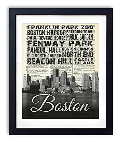 Boston Skyline With Landmarks Typography (#2) Upcycled Vintage Dictionary Art Print 8x10